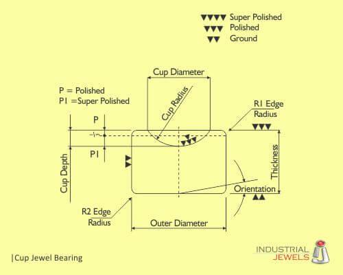 cup jewel bearing technical drawing