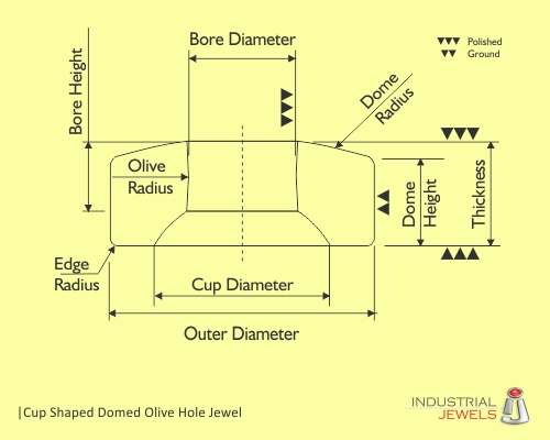 Cup Shaped Domed Olive Hole Jewel technical details