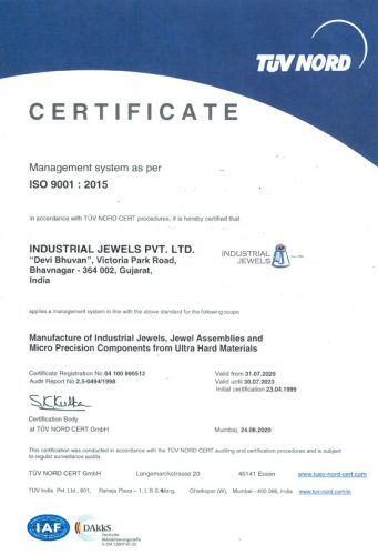 Industrial Jewels ISO 9001 2015